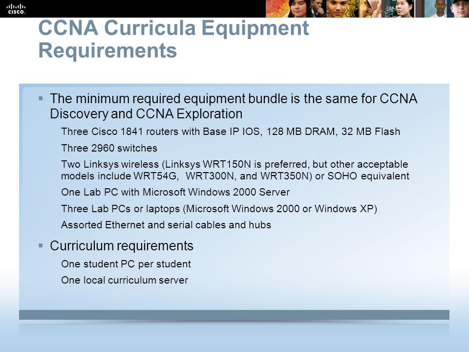 CCNA Curricula Equipment Requirements