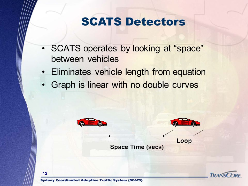 SCATS Detectors SCATS operates by looking at space between vehicles