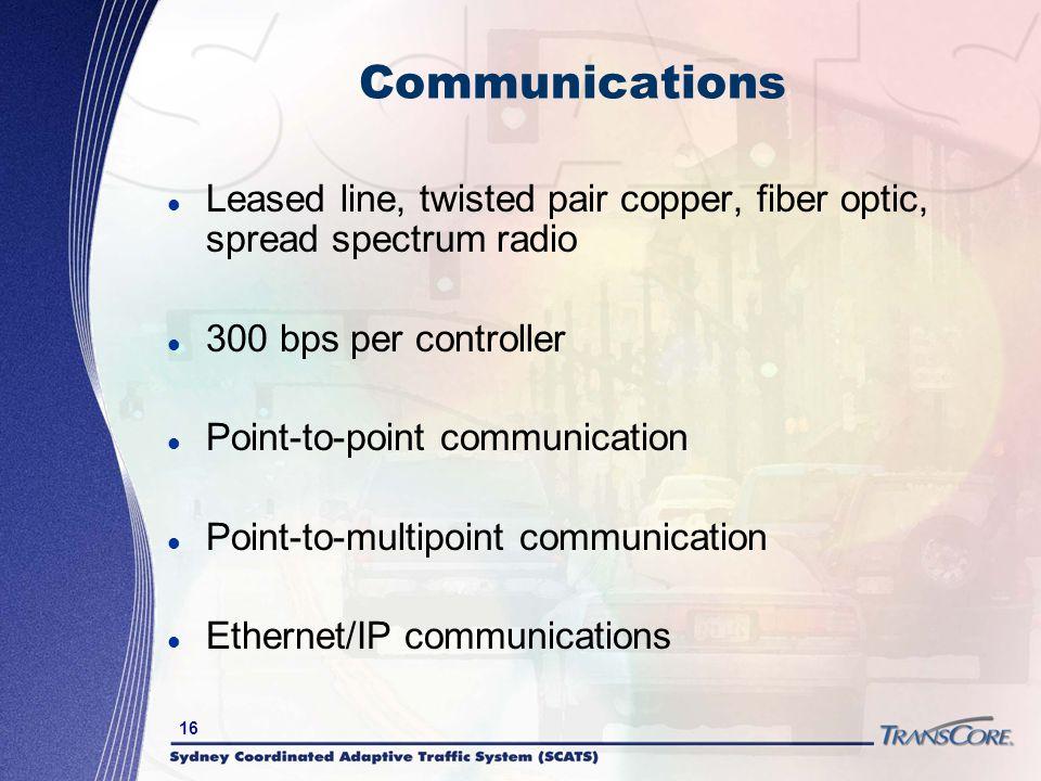 Communications Leased line, twisted pair copper, fiber optic, spread spectrum radio. 300 bps per controller.