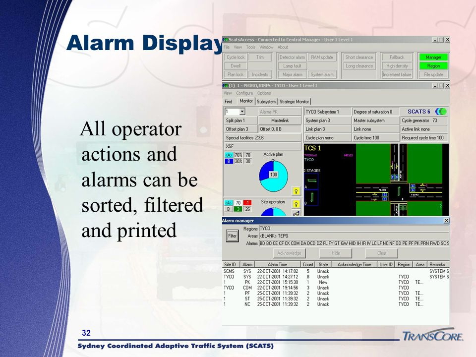 Alarm Display All operator actions and alarms can be sorted, filtered and printed