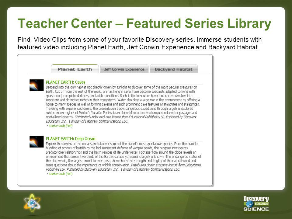 Teacher Center – Featured Series Library