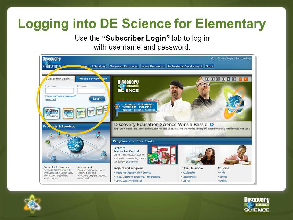 Logging into DE Science for Elementary