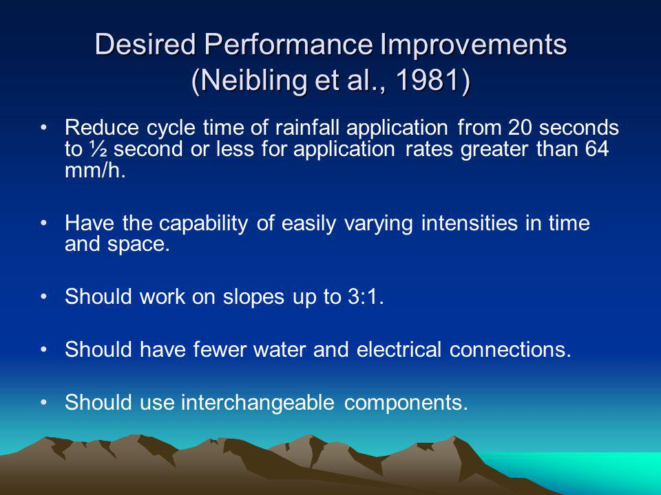 Desired Performance Improvements (Neibling et al., 1981)