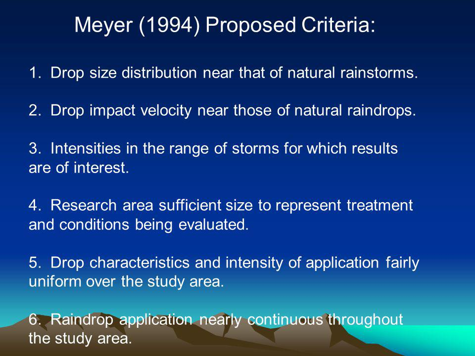 Meyer (1994) Proposed Criteria: