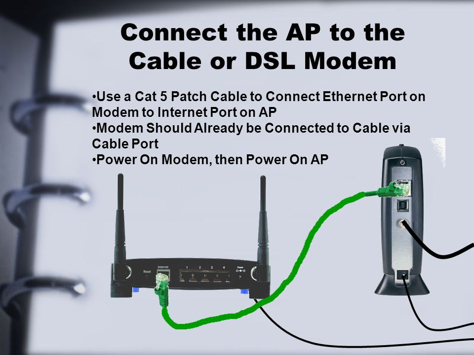 Connect the AP to the Cable or DSL Modem