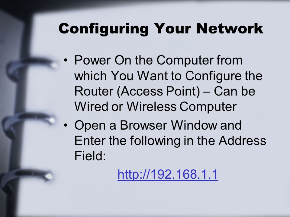 Configuring Your Network