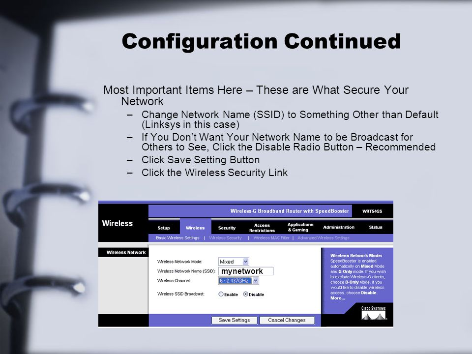 Configuration Continued