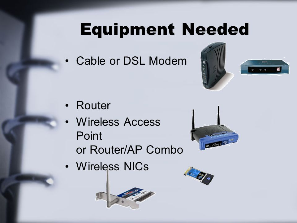 Equipment Needed Cable or DSL Modem Router
