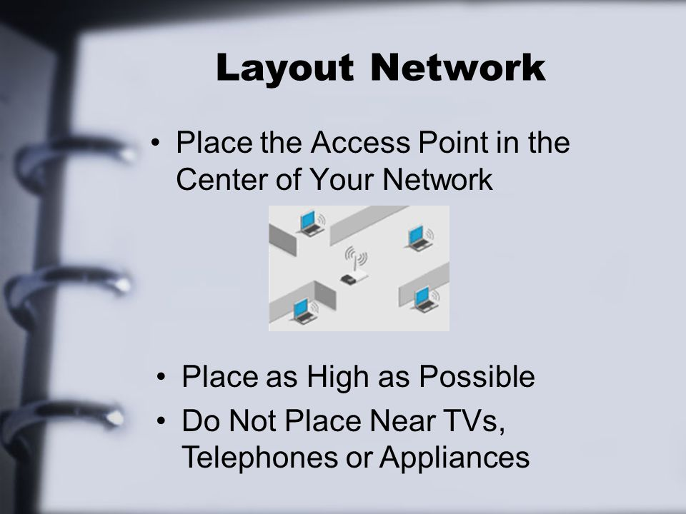 Layout Network Place the Access Point in the Center of Your Network