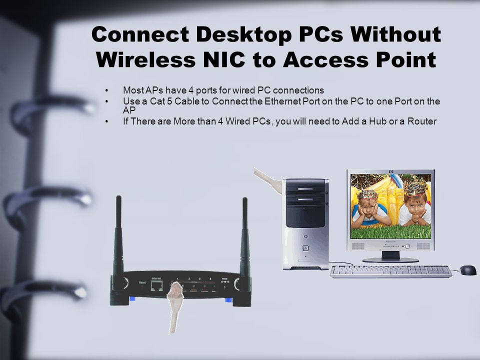 Connect Desktop PCs Without Wireless NIC to Access Point