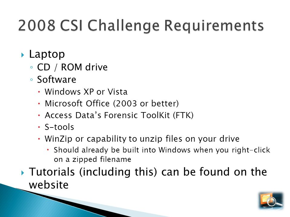 2008 CSI Challenge Requirements