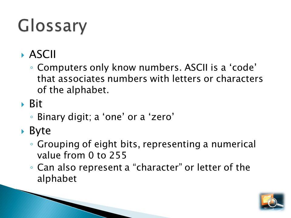Glossary ASCII Bit Byte