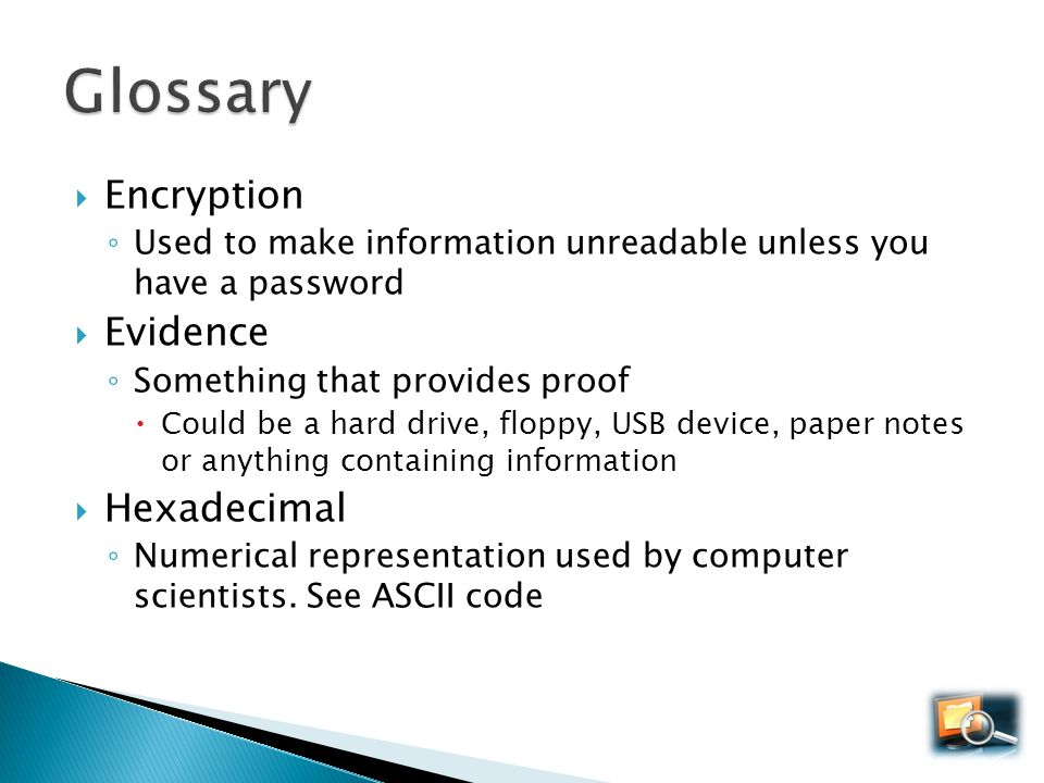 Glossary Encryption Evidence Hexadecimal