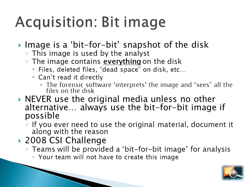 Acquisition: Bit image