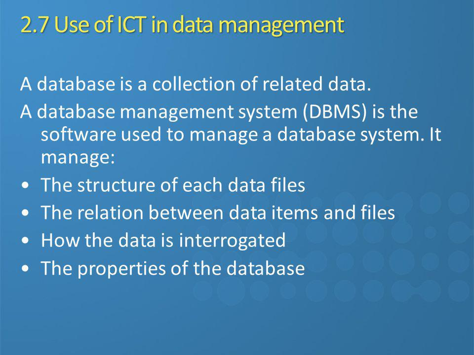 2.7 Use of ICT in data management