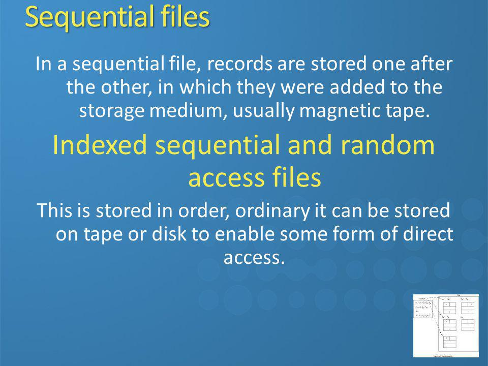 Indexed sequential and random access files