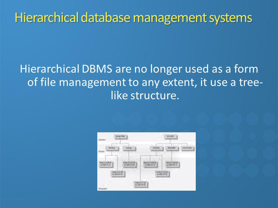 Hierarchical database management systems