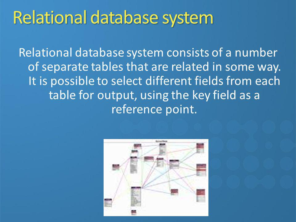 Relational database system