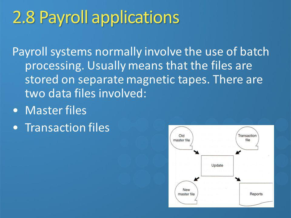 2.8 Payroll applications