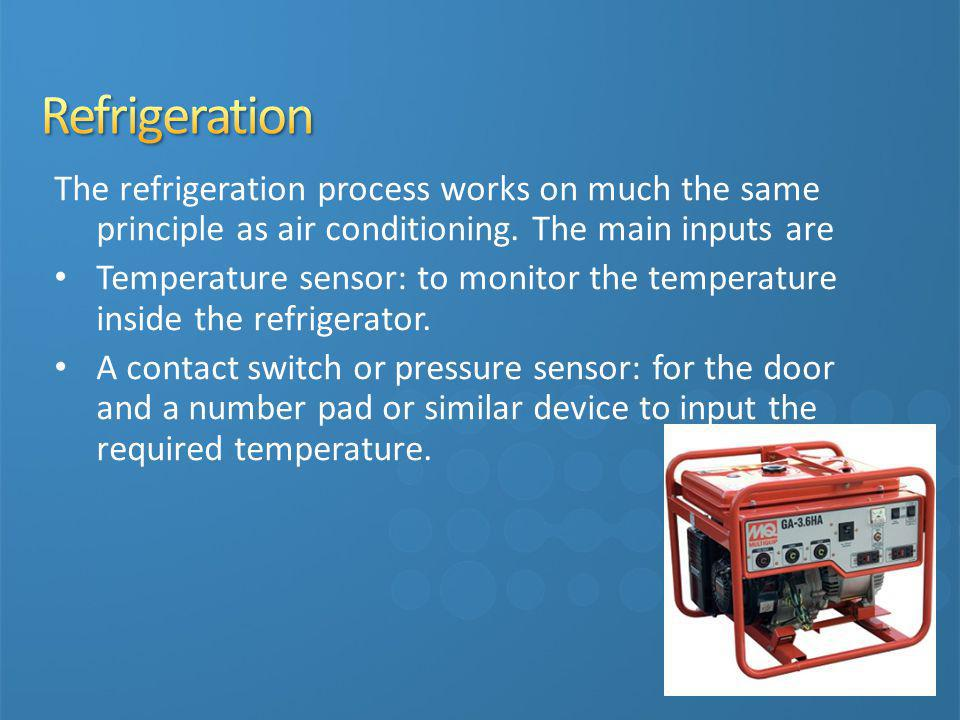 3/31/2017 10:00 PM Refrigeration. The refrigeration process works on much the same principle as air conditioning. The main inputs are.