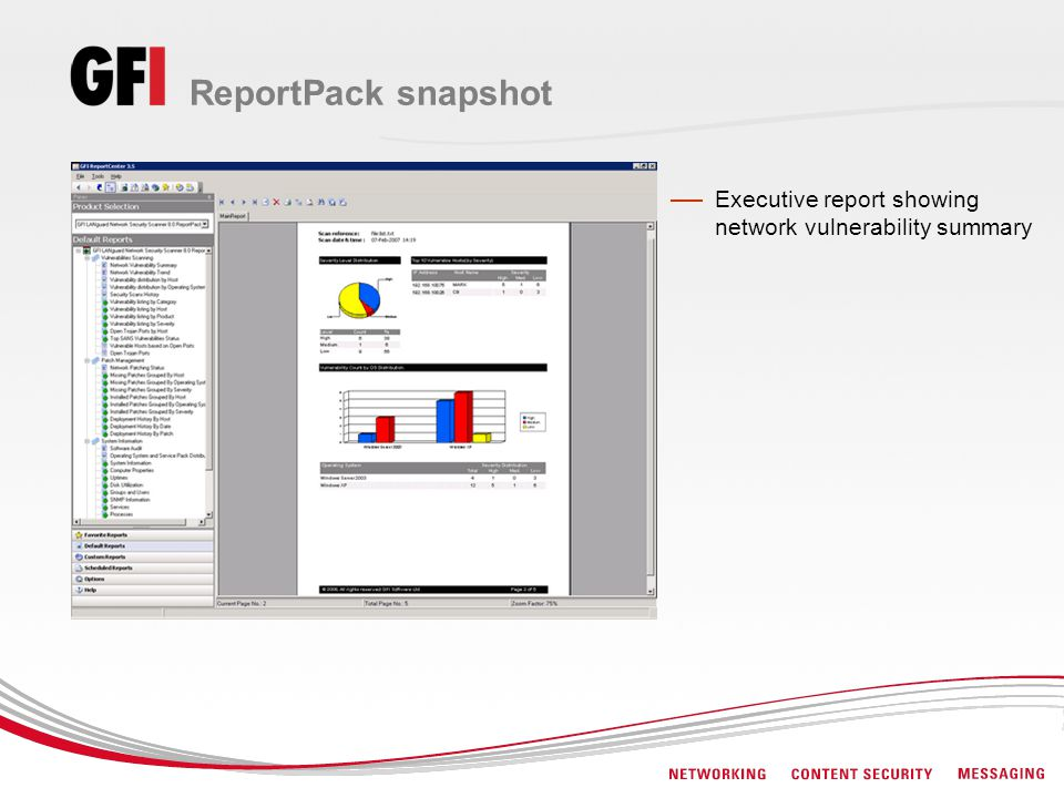 ReportPack snapshot Executive report showing network vulnerability summary