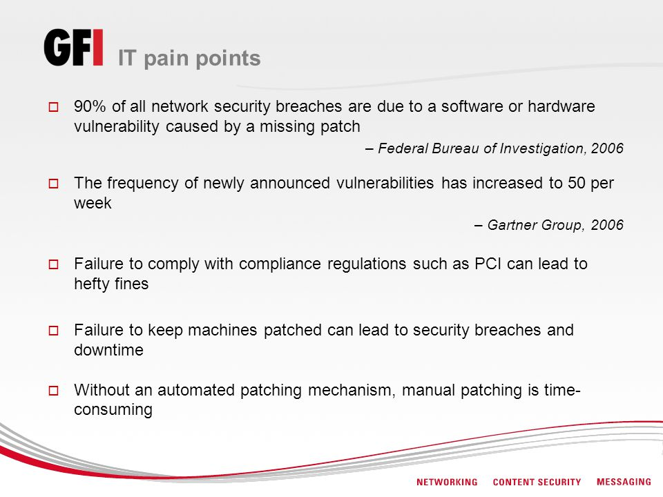 IT pain points 90% of all network security breaches are due to a software or hardware vulnerability caused by a missing patch.