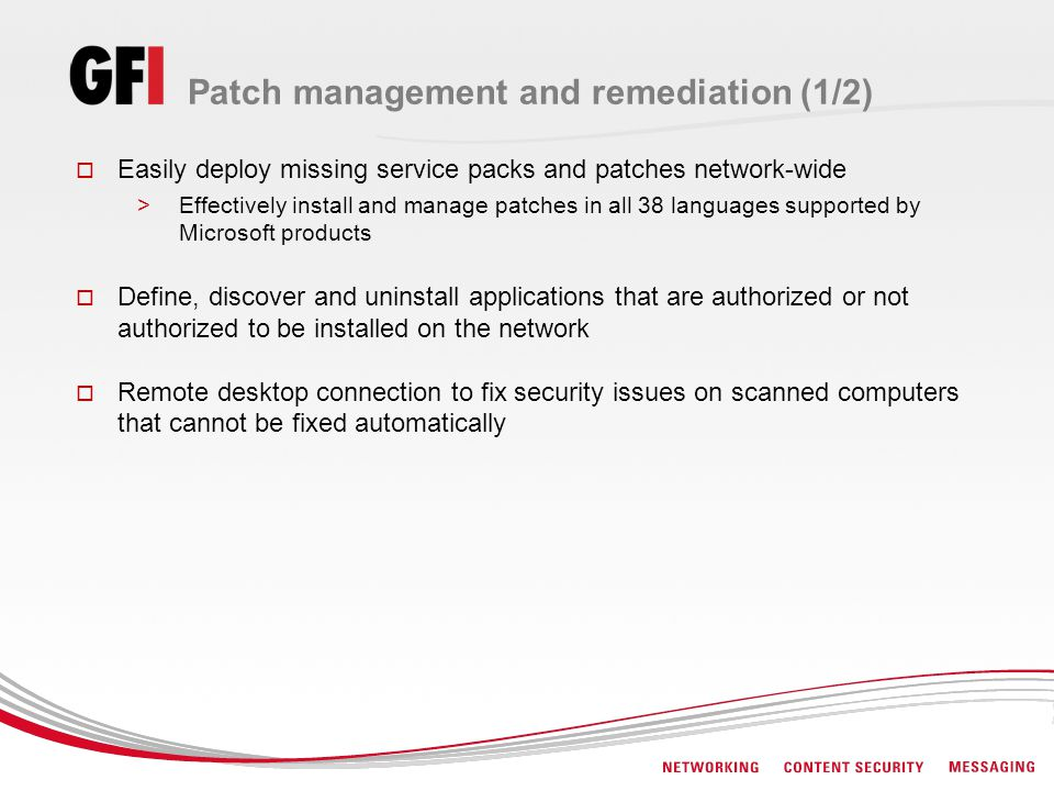Patch management and remediation (1/2)