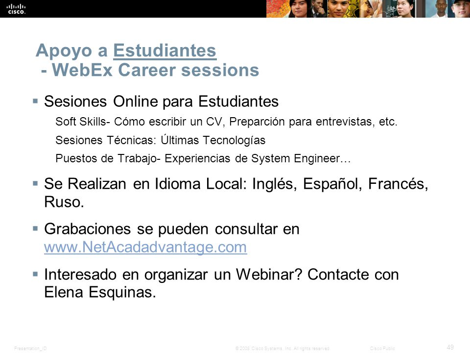 Apoyo a Estudiantes - WebEx Career sessions