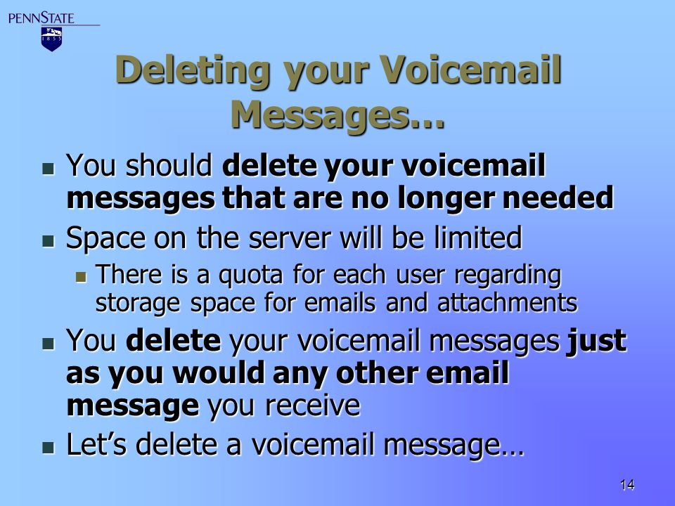 Deleting your Voicemail Messages…