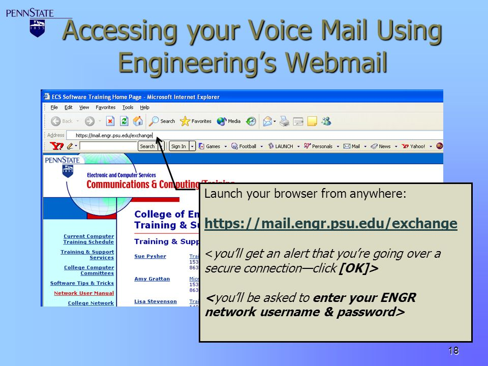 Accessing your Voice Mail Using Engineering's Webmail