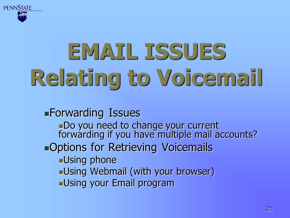 EMAIL ISSUES Relating to Voicemail