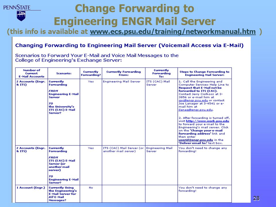 Engineering ENGR Mail Server