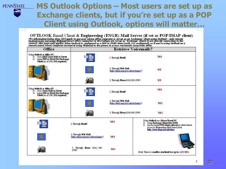 MS Outlook Options – Most users are set up as Exchange clients, but if you're set up as a POP Client using Outlook, options will matter…