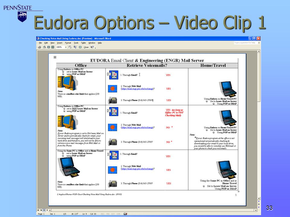 Eudora Options – Video Clip 1