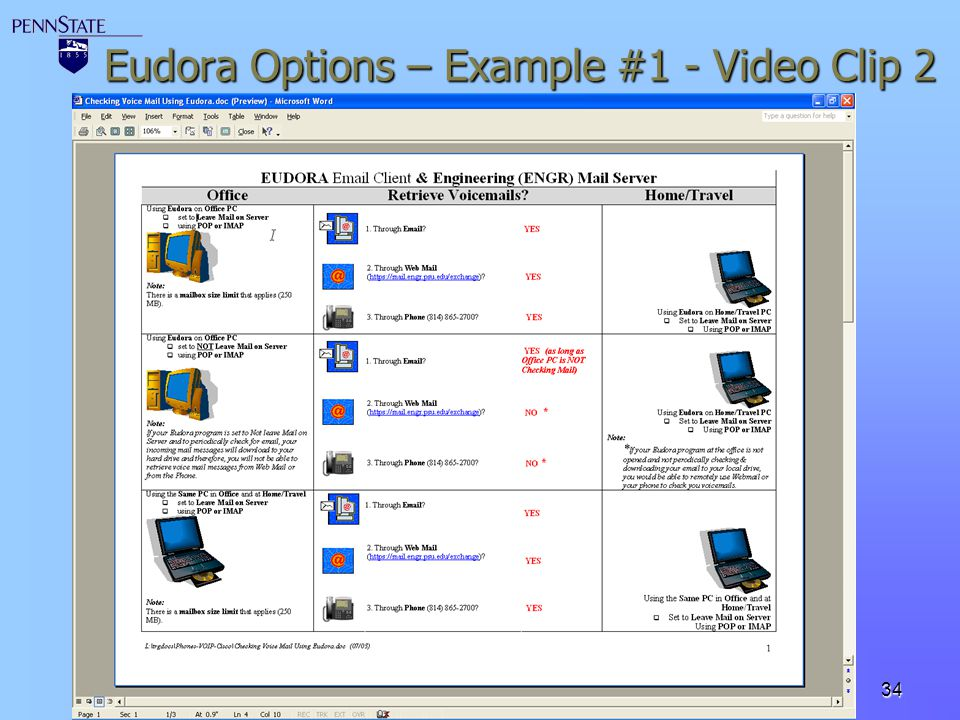 Eudora Options – Example #1 - Video Clip 2