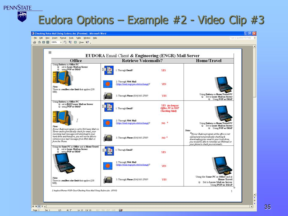 Eudora Options – Example #2 - Video Clip #3