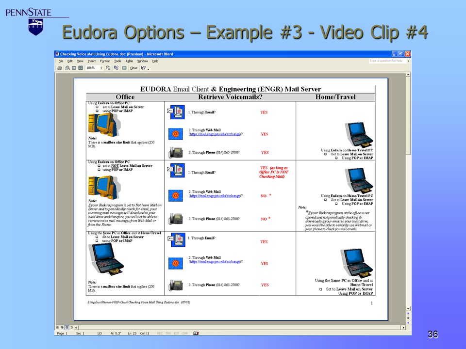 Eudora Options – Example #3 - Video Clip #4