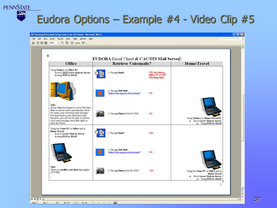 Eudora Options – Example #4 - Video Clip #5
