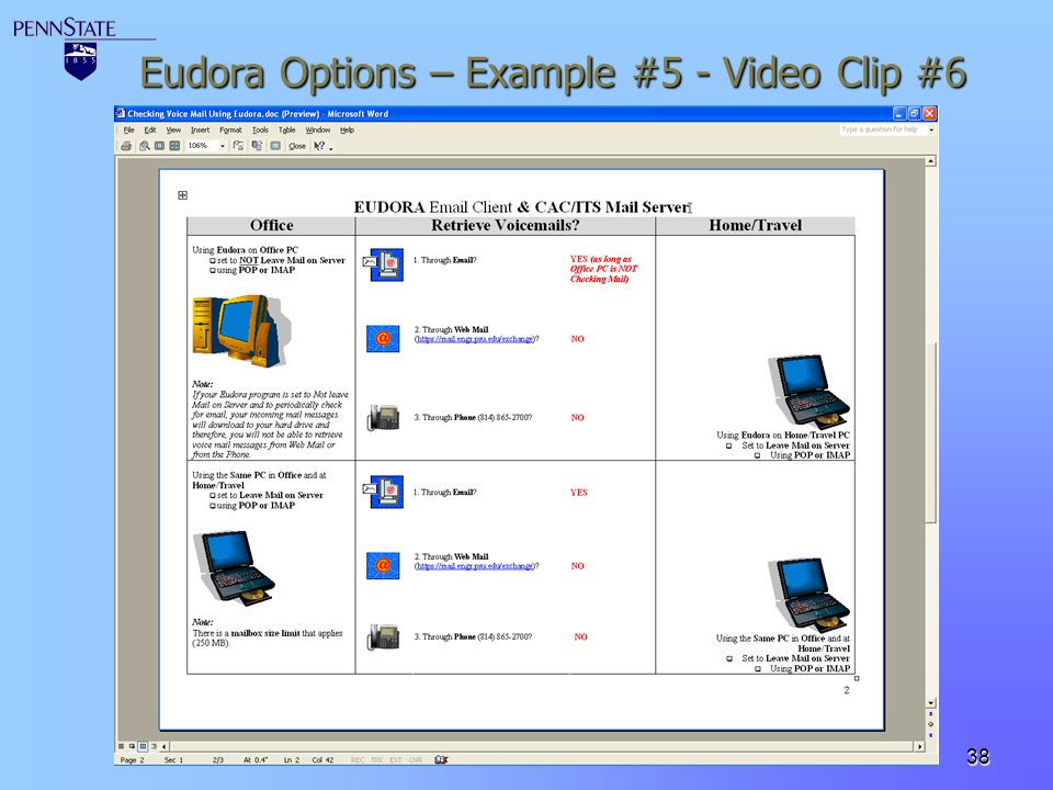 Eudora Options – Example #5 - Video Clip #6