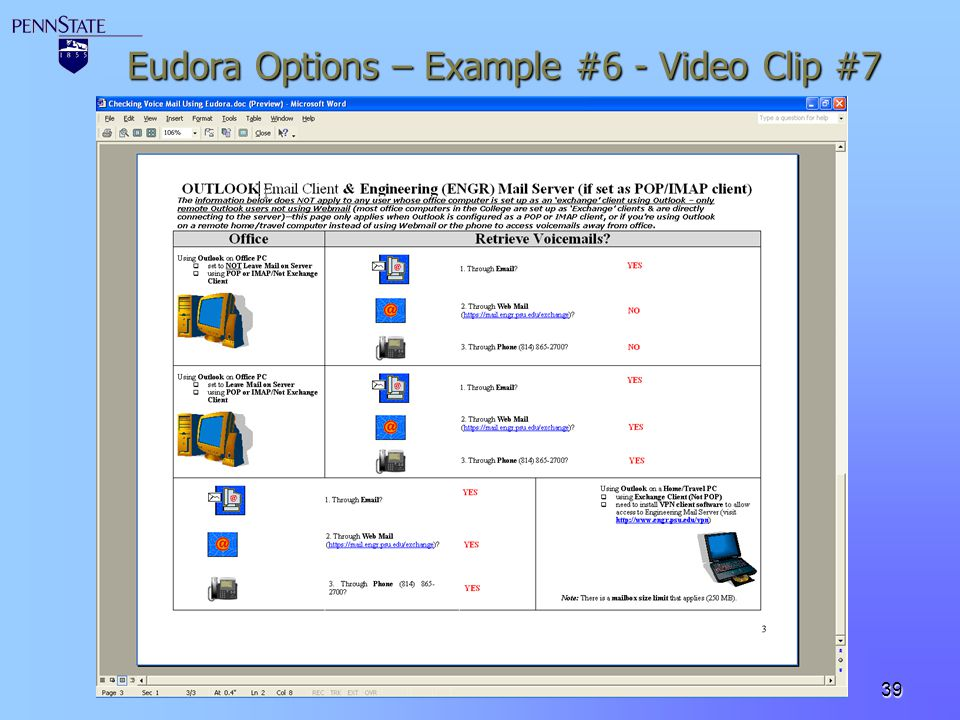 Eudora Options – Example #6 - Video Clip #7