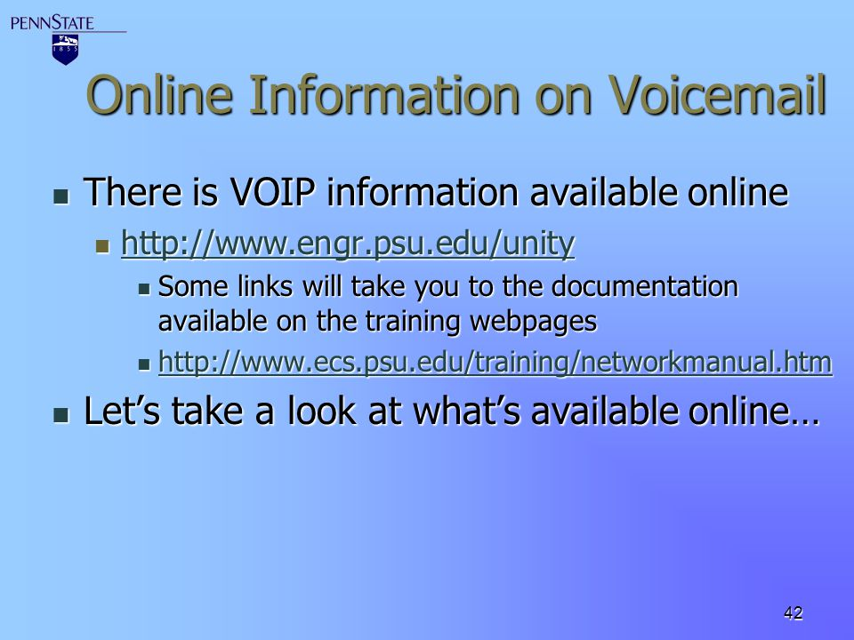 Online Information on Voicemail