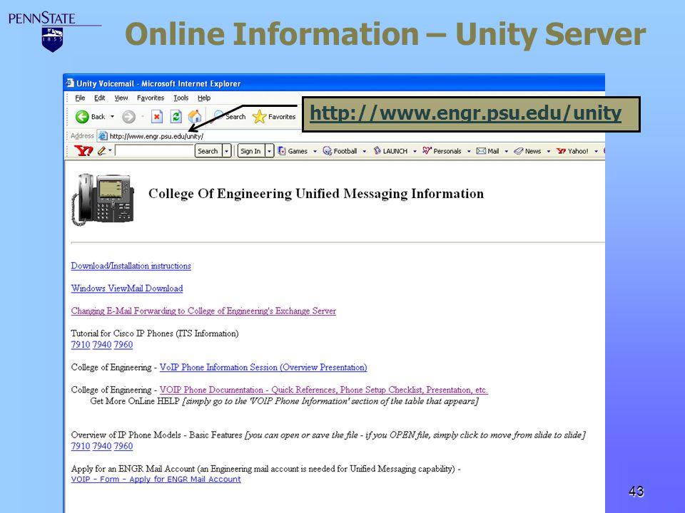 Online Information – Unity Server