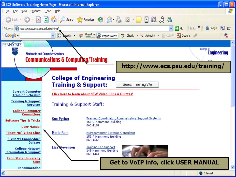 Get to VoIP info, click USER MANUAL