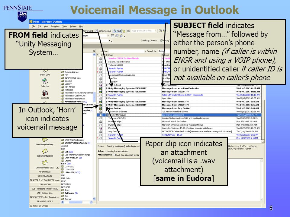 Voicemail Message in Outlook