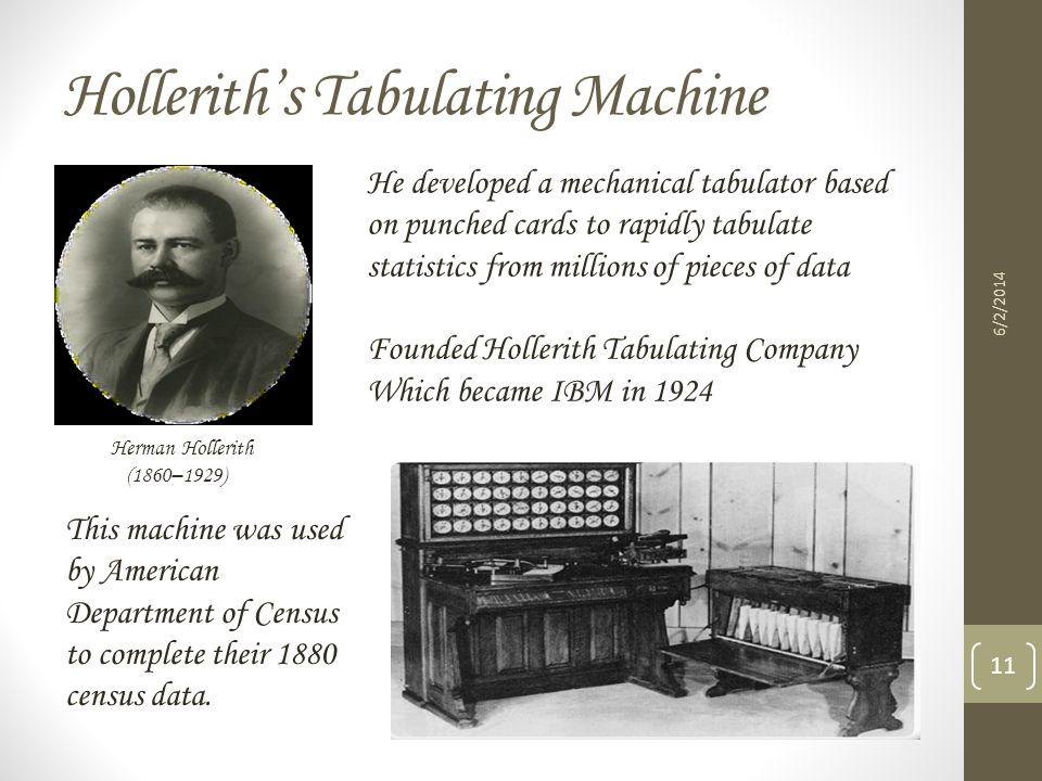 Hollerith's Tabulating Machine