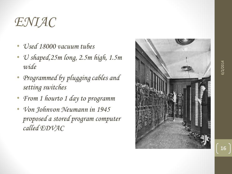 ENIAC Used 18000 vacuum tubes U shaped,25m long, 2.5m high, 1.5m wide