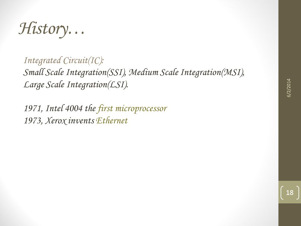 History… Integrated Circuit(IC):