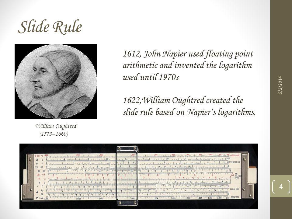 Slide Rule 1612, John Napier used floating point