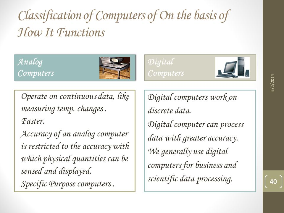 Classification of Computers of On the basis of How It Functions
