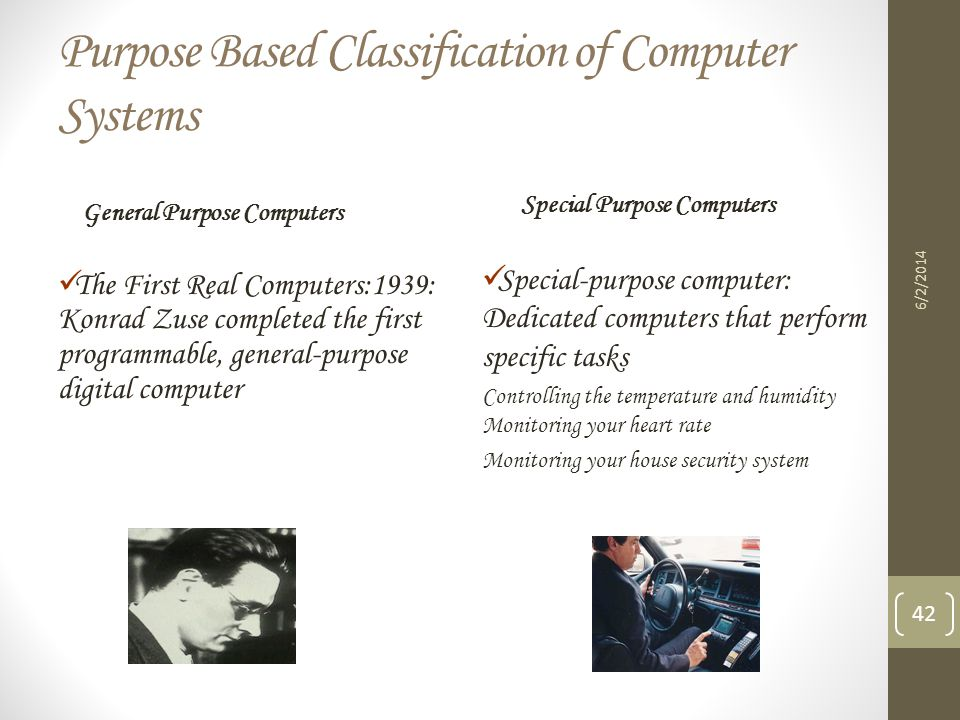 Purpose Based Classification of Computer Systems